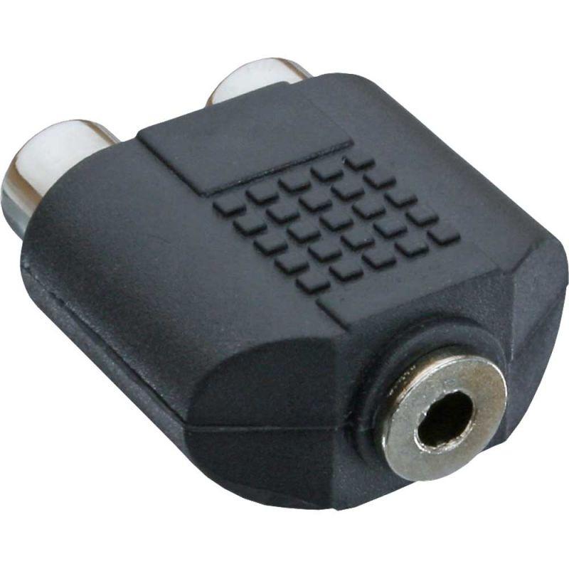 inline audio adapter 3 5mm klinke buchse stereo an 2x cinch buchse. Black Bedroom Furniture Sets. Home Design Ideas