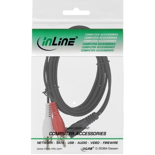 InLine® Cinch/Klinke Kabel, 2x Cinch Stecker an 3,5mm Klinke Stecker, 10m