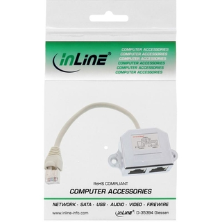 InLine® Cat.5e T-Adapter (Port-Doppler), RJ45 Stecker an 2x RJ45 Buchse, 0,15m