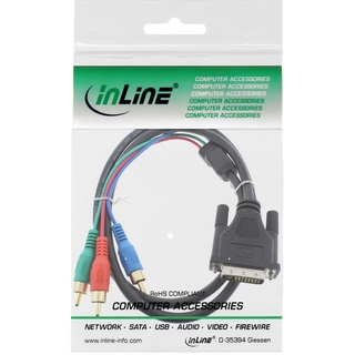 InLine® DVI-I Kabel, 24+5 Stecker 3x Cinch RGB, 1m