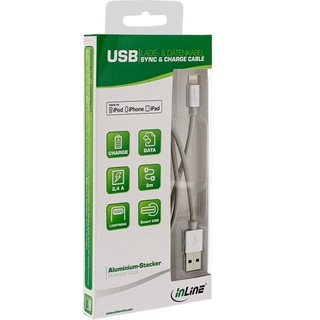 InLine® Lightning USB Kabel, für iPad, iPhone, iPod, silber/Alu, 2m